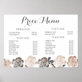 Poster do preço do menu do Beautician do salão de