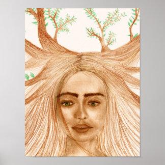 Poster do retrato da mãe Natureza