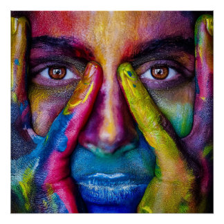 poster do retrato da máscara da pintura do