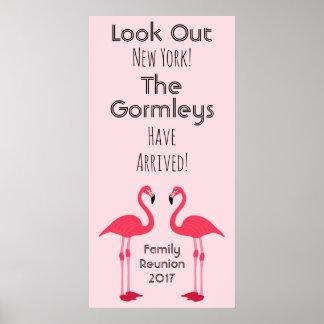 Poster do rosa da reunião de família do flamingo