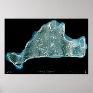 Poster do satélite de Massachusetts do vinhedo de