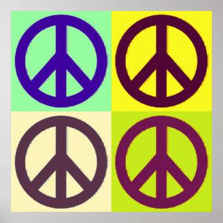 Poster do símbolo do sinal de paz do pop art