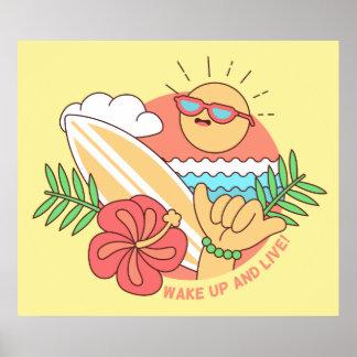 Poster do surfista do verão