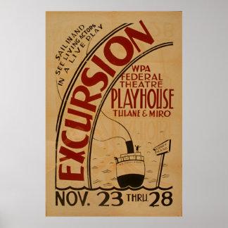 Poster do teatro do vintage de WPA da excursão