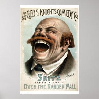 Poster do teatro do vintage do Co da comédia do br