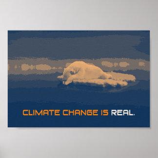 Poster do urso polar das alterações climáticas