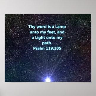 Poster do verso da bíblia do salmo 119105 pôster
