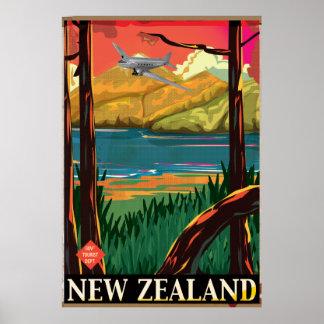 Poster do vôo do vintage de Nova Zelândia Pôster