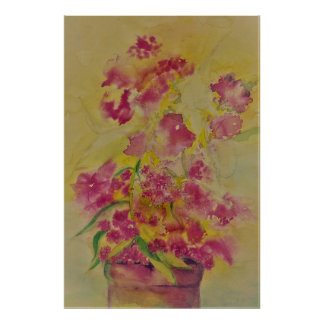 poster do zeke da flor da aguarela