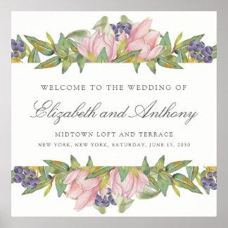 Poster doce do sinal do casamento da aguarela da