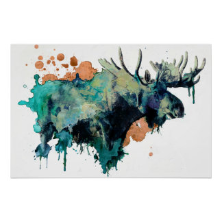 Poster dos alces do Watercolour