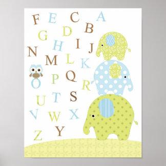 Poster dos alfabetos da coruja dos elefantes