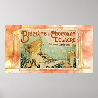 Poster dos biscoitos de Mucha do vintage
