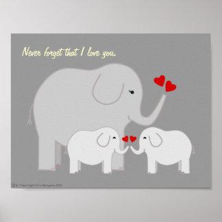 Poster dos cinzas dos elefantes do Mama e do bebê