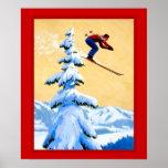 Poster dos esportes de inverno do vintage