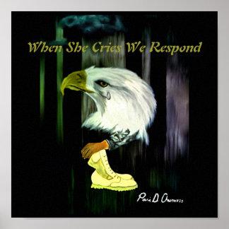 Poster dos gritos de Eagle do americano Pôster