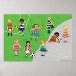 Poster dos meninos e das meninas dos jogos do camp