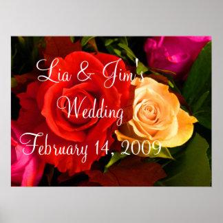 Poster dos namorados do casamento do rosa vermelho