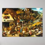 Poster dos provérbio de Pieter Bruegel Netherlandi