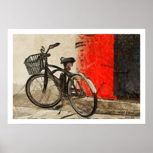 Poster dos trabalhos de arte da bicicleta do vinta