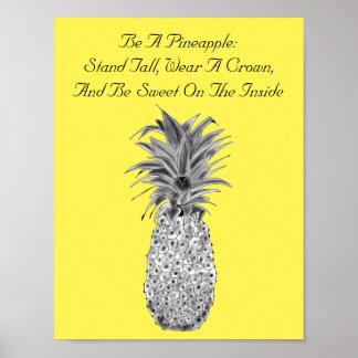 Poster dos trabalhos de arte do abacaxi