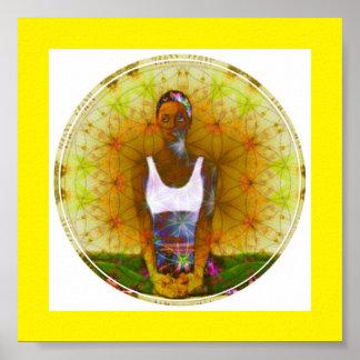 Poster dourado da menina de Dharma