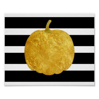 Poster dourado da silhueta da abóbora