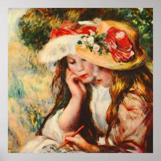 Poster Duas meninas que lêem em umas belas artes de