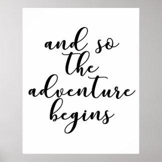Poster E assim a aventura começa a wedding citações