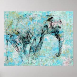 Pôster Elefante azul