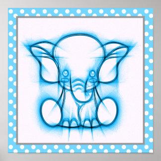 Poster Elefante azul do bebê do desenho de lápis dos