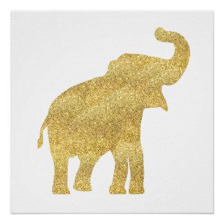 Pôster elefante do bebê do olhar do brilho do ouro