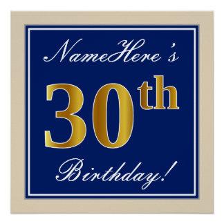 Pôster Elegante, azul, aniversário de 30 anos do ouro do
