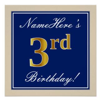 Pôster Elegante, azul, aniversário de 3 anos do ouro do