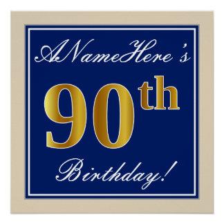 Pôster Elegante, azul, aniversário do 90 do ouro do falso