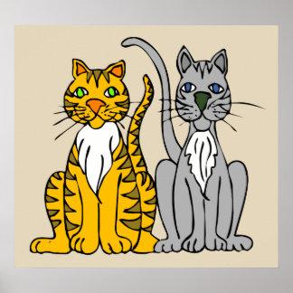 Poster elegante do resíduo metálico dos gatos