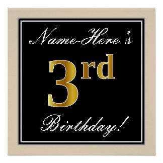 Pôster Elegante, preto, aniversário de 3 anos do ouro do