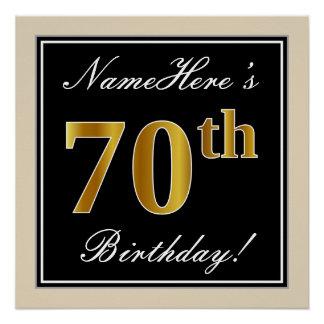 Pôster Elegante, preto, aniversário do 70 do ouro do