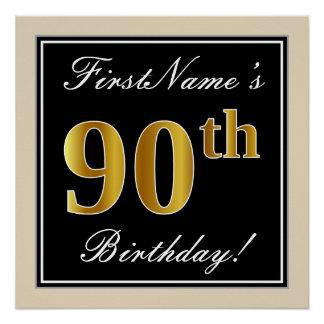 Pôster Elegante, preto, aniversário do 90 do ouro do