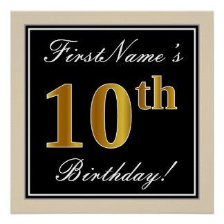 Pôster Elegante, preto, aniversário do ouro do falso 10o