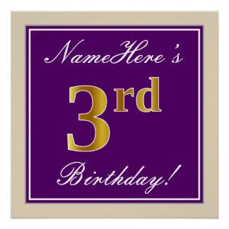 Pôster Elegante, roxo, aniversário de 3 anos do ouro do