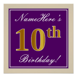 Pôster Elegante, roxo, aniversário do ouro do falso 10o +