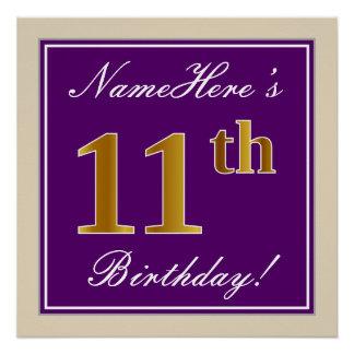 Pôster Elegante, roxo, aniversário do ouro do falso 11o +