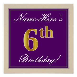 Pôster Elegante, roxo, aniversário do ouro do falso 6o +