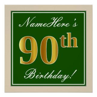 Pôster Elegante, verde, aniversário do 90 do ouro do