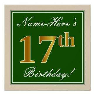 Pôster Elegante, verde, aniversário do ouro do falso 17o