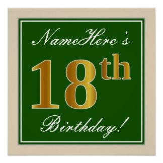 Pôster Elegante, verde, aniversário do ouro do falso 18o