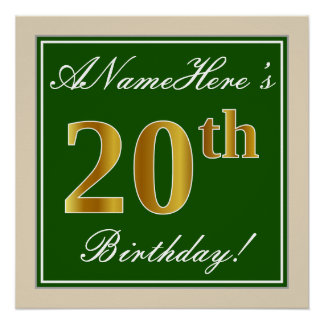 Pôster Elegante, verde, aniversário do ouro do falso 20o