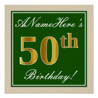 Pôster Elegante, verde, aniversário do ouro do falso 50th