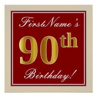 Pôster Elegante, vermelho, aniversário do 90 do ouro do